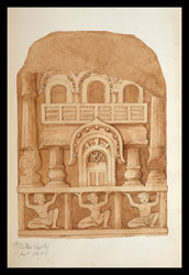 Drawing of sculpture on the stupa rail at Bodhgaya (Bihar), made by Kittoe during his investigation of the site. January 1847. 20